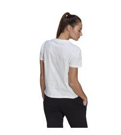 Camiseta-Manga-Corta-adidas-para-mujer-W-Foil-Bos-G-T-para-moda-color-blanco.-Reverso-Sobre-Modelo