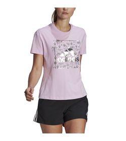Camiseta-Manga-Corta-adidas-para-mujer-W-Foil-Bos-G-T-para-moda-color-morado.-Frente-Sobre-Modelo