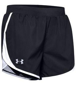 Pantaloneta-under-armour-para-mujer-Ua-Fly-By-2.0-Short-para-correr-color-negro.-Frente-Sin-Modelo