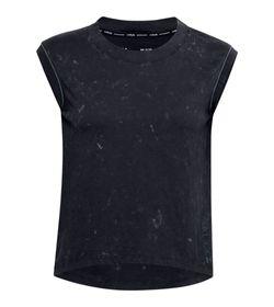 Camiseta-Manga-Sisa-under-armour-para-mujer-Ua-Run-Anywhere-Ss-para-correr-color-negro.-Frente-Sin-Modelo