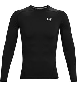 Camiseta-De-Compresion-under-armour-para-hombre-Ua-Hg-Armour-Comp-Ls-para-entrenamiento-color-negro.-Frente-Sin-Modelo