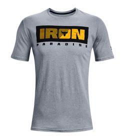 Camiseta-Manga-Corta-under-armour-para-hombre-Ua-Pjt-Rck-Iron-Paradise-Ss-para-entrenamiento-color-gris.-Frente-Sin-Modelo