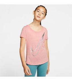 Camiseta-Manga-Corta-nike-para-niña-G-Nsw-Tee-Scoop-para-moda-color-rosado.-Frente-Sobre-Modelo