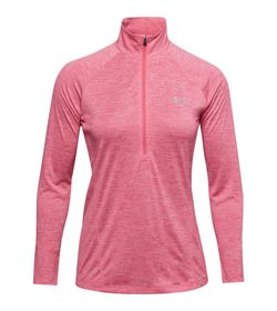 Buzo-under-armour-para-mujer-Tech-1-2-Zip---Twist-para-entrenamiento-color-rosado.-Frente-Sin-Modelo