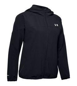 Chaqueta-under-armour-para-mujer-Woven-Hooded-Jacket-para-moda-color-negro.-Frente-Sin-Modelo