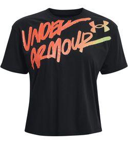 Camiseta-Manga-Sisa-under-armour-para-mujer-Live-Chroma-Graphic-Tee-para-entrenamiento-color-negro.-Frente-Sin-Modelo