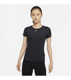 Camiseta-Manga-Corta-nike-para-mujer-W-Nk-One-Df-Ss-Slim-Top-para-entrenamiento-color-gris.-Frente-Sobre-Modelo