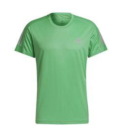 Camiseta-Manga-Corta-adidas-para-hombre-Own-The-Run-Tee-para-correr-color-verde.-Frente-Sin-Modelo