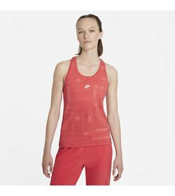 Camiseta-Manga-Sisa-nike-para-mujer-W-Nk-Air-Df-Tank-para-correr-color-naranja.-Frente-Sobre-Modelo