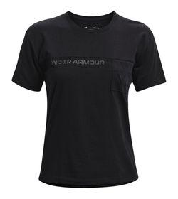 Camiseta-Manga-Corta-under-armour-para-mujer-Live-Pocket-Mesh-Graphic-Ss-para-entrenamiento-color-negro.-Frente-Sin-Modelo