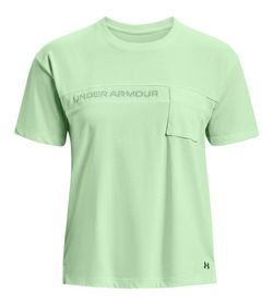 Camiseta-Manga-Corta-under-armour-para-mujer-Live-Pocket-Mesh-Graphic-Ss-para-entrenamiento-color-azul.-Frente-Sin-Modelo