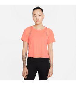 Camiseta-Manga-Corta-nike-para-mujer-W-Ny-Df-Top-Mesh-para-entrenamiento-color-naranja.-Frente-Sin-Modelo